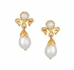 Tanishq 18 KT Yellow Gold Pearl Drop Earrings With R-Design