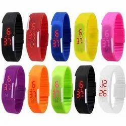 Rectangular LED Digital PVC Wrist Watch