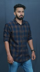 Blue And Yellow Check Cotton/Linen Mens Cotton Casual Shirt