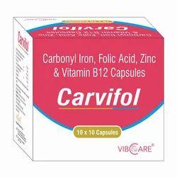 Carbonyl Iron 100mg Folic Acid 1.5mg   Zinc 22.5mg Vitamin B12 10mcg