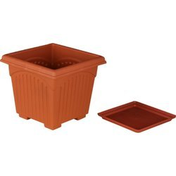 8 inch Square Pots Plus Bottom Tray Set of 25