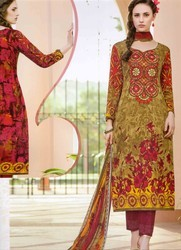 Cotton Casual Wear Mbroidered Salwar Kameez With Dupatta
