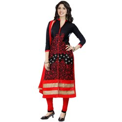 Rajnandini Black And Red Heavy Glass Cotton Embroidered Unstitched Dress With  Dupatta