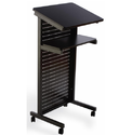 Mobile Podium with Black Top & 2 Shelves