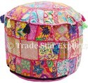 Vintage Patchwork Ottoman Pouf Cover Home Decor Embroidered Patch Work Pouf Cover