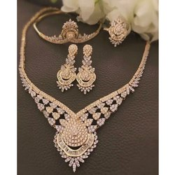 Bridal Gold Diamond Necklace Set