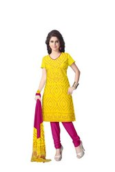 Yellow And Pink Color Fancy Design Gaji Silk Bandhani Suit
