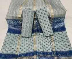 Bridal Wear Unstitched Sanganeri Hand Block Cotton Printed Suit With Kota Silk Duptta