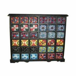 Multicolor Mugal Art Handicraft Drawer Ceramic Cabinet