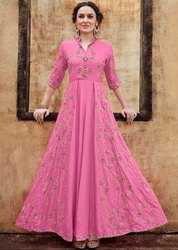 Cherry Pink Embroidered Rayon Gown