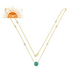 Sky Blue Turquoise Gemstone Designer Gold Plated Silver Long Chain Necklace