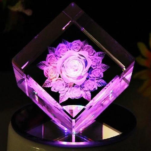 3D Flower Laser Engraving Crystal Cube, Size: 3 X 2 X 2 Inch (h X W X L)