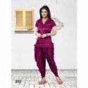 Ysf Half Sleeve Ladies Plain Patiala Night Suit