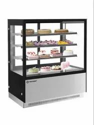 Chiller Refrigerated Display Flat Glass 3 Layer Cake Showcase