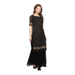 Black Gold Kurta with Skirt