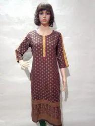 Brown Casual Wear Painted Ladies Rayon Kurti, Wash Care: Machine Wash