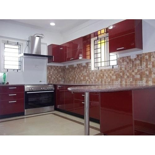 Maroon Modular Kitchen Rs 950 Square Feet Immortal