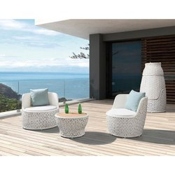 Garderin White 2 Seater Garden Wicker Chair and Table Set