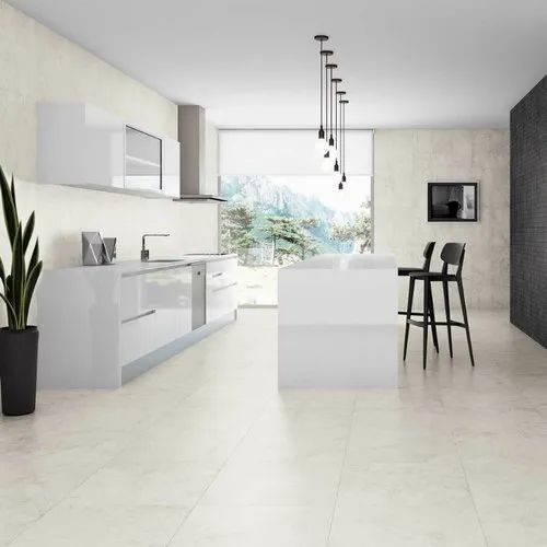 White Glossy Floor Tile Thickness 5 10 Mm
