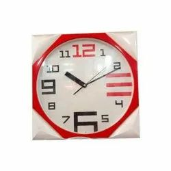 Plastic Red And White Wall Clock