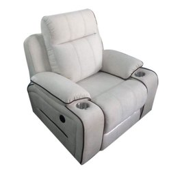 Wooden Single Seater White Sofa Chair For Home, Living Room