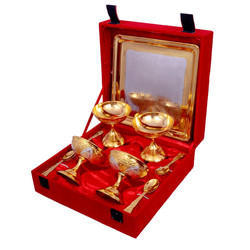 Silver Gold Plated Ice Cream Set