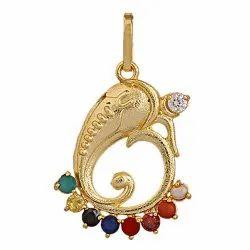 Synthetic Navratan Or Navgrah Brass Ganesha Locket