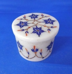 White Marble Inlay Jewelry Box
