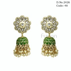 Antique Kundan Meenakari Jhumka Earring