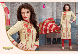 Cotton Embroidered Churidar Suit