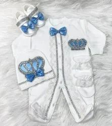 Cotton White Turkey Baby Party Wear Romper Set Boys, Age: 0-3months, Small