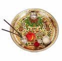 Golden Kalash Designed Stainless Steel Meenakari Puja Thali