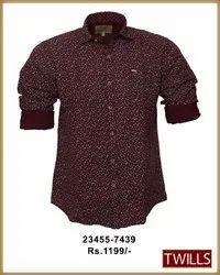 Printed Full Mens Maroon Shirt