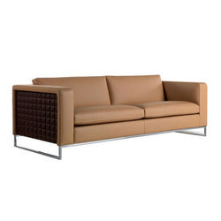 Stainless Steel & Synthetic Leather Brown Designer Cadbury Sofa
