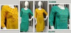 Mokksha 3/4th Sleeve 13480 Polycotton Kurtis With Embroidery, Wash Care: Machine Wash