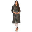 Ladies Black Printed Rayon Kurti