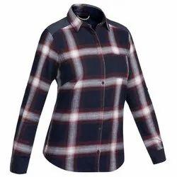 Full Sleeve Cotton Women Blue Shirt