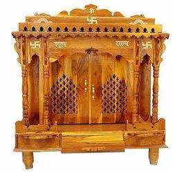 Brown Handicraft Teak Wood Temple for Worship