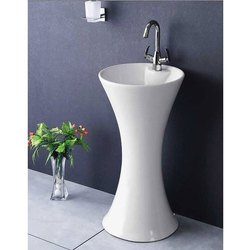 Ceramic White Pedestal Wash Basin, For Home