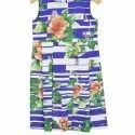 Party Wear Multicolor Kids Girls Blue Floral Leaves Pleated Day Dress