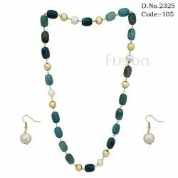 Antique Glass Beaded Necklace Set