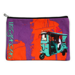 Turquoise Taxi Canvas Utility Pouch