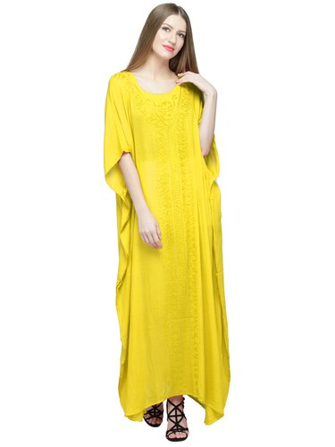 a0381673c64 Skavij Womens Kaftan Nightgown Tunic Embroidered Rayon Dress Beach Cover Up  Plus Size - Yellow