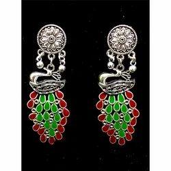Oxidized Peacock Design Earrings