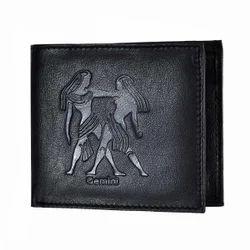 Gemini Zodiac Sign Embossed Black Mens Leather Wallet