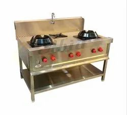 3 Stainless Steel Chinese Cooking Range, For Kitchen, Size: 54