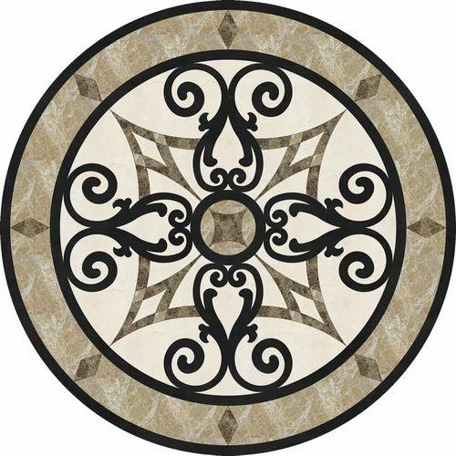 Multicolor Round Stone Floor Medallion