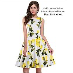 Yellow Floral Western Frock