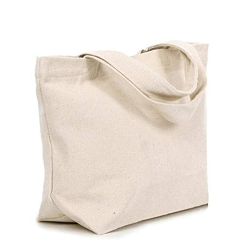 d845e1412ef8 White Cotton Canvas Grocery Shopping Tote Bag