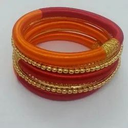 Indian Silk Bangle with Golden Bead Bangle